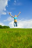 The girl jumping Stock Image
