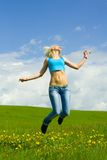 The girl jumping Royalty Free Stock Images