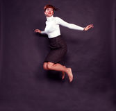 Girl is jumping. Cheerful girl is jumping, happiness of life Royalty Free Stock Images