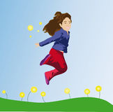 Girl jumping. Illustration of a girl jumping in the field Stock Photos