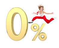 Girl jumping above gold 3d zero percent sign. Smiling girl jumping above gold 3d zero percent sign against isolated white background Stock Photo