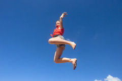 Girl Jumping Blue Sky Parkour Royalty Free Stock Photography
