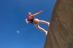 Girl Jumping Blue Sky Stock Photos
