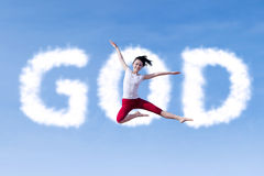 Girl Jumping With Clouds God Royalty Free Stock Photo