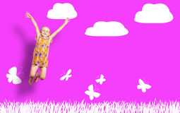 Girl jumping in a color dress Royalty Free Stock Photo