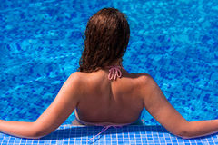 Girl Jumping From Pool Royalty Free Stock Photos