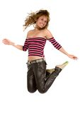Girl jumping full of joy Royalty Free Stock Photography