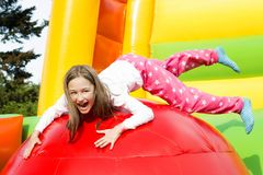 Girl Jumping Fun Stock Photography