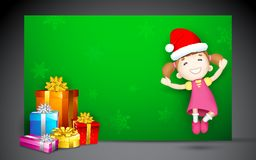 Girl jumping with Gift Royalty Free Stock Photos