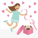 Girl jumping. Gift box with puppy pug dog mops. Happy child jump. Cute cartoon laughing character in blue dress holding ribbon.  O Stock Image