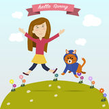 Girl jumping on the grass with the dog feel happy Stock Images