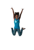 Girl jumping happy Royalty Free Stock Images