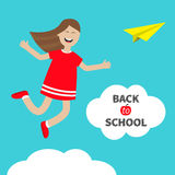 Girl jumping Happy child jump. Cute cartoon laughing character in red dress. Back to school Chalk text in cloud.  Royalty Free Stock Images