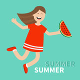 Girl jumping Happy child jump. Hello summer greeting card. Cute cartoon laughing character in red dress holding watermelon slice. Stock Photography