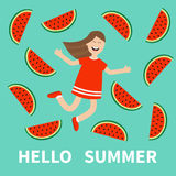 Girl jumping Hello summer greeting card.  Happy child jump. Cute cartoon laughing character in red dress Watermelon slice backgrou Royalty Free Stock Photos