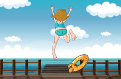 A girl jumping for help. Illustration of a girl jumping for help seeing a snake stock illustration