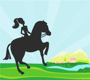 Girl jumping with horse Royalty Free Stock Photography