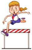 Girl jumping. Illustration of a girl jumping over an obstacle royalty free illustration