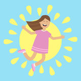 Girl jumping isolated. Sun shining icon. Summer time. Happy child jump. Cute cartoon laughing character in violet dress. Smiling  Royalty Free Stock Image