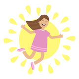 Girl jumping isolated. Sun shining icon. Summer time. Happy child jump. Cute cartoon laughing character in violet dress. Smiling  Stock Photo