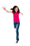 Girl jumping. Isolated on white background Royalty Free Stock Image