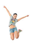 Girl jumping for joy. Women smiles happily bouncing with happiness waving Royalty Free Stock Photos