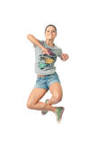 Girl jumping for joy. Women smiles happily bouncing with happiness waving Royalty Free Stock Images