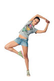 Girl jumping for joy. Women smiles happily bouncing with happiness waving Royalty Free Stock Photography
