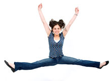 Girl jumping of joy Stock Images