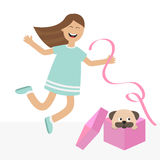 Girl jumping for joy. Gift box with puppy pug dog mops. Happy child jump. Cute cartoon laughing character in blue dress holding ri Royalty Free Stock Image