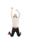 Girl jumping with joy. Little pretty girl jumping with joy Royalty Free Stock Image