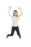 Girl jumping with joy Stock Photography