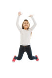 Girl jumping with joy. Little pretty girl jumping with joy Stock Photography