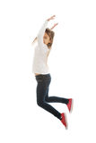 Girl jumping with joy. Little pretty girl jumping with joy Royalty Free Stock Photo