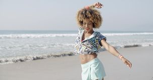 Girl Jumping With Joy On The Seashore stock video