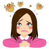 Girl Jumping Lice. Cute little sad girl with lice jumping from her hair stock illustration