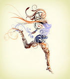 Girl jumping. Made with flourish shapes vector illustration
