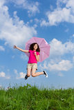 Girl jumping outdoor Royalty Free Stock Photography
