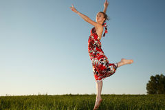 Flying young woman Royalty Free Stock Photo