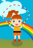 Girl Jumping Rope. Young red-headed caucasian girl jumping rope with rainbow background Stock Photo