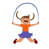 Girl jumping rope. Vector illustration. Grouped for easy editing royalty free illustration