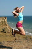 Girl jumping screen Royalty Free Stock Photo