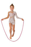 Girl jumping skipping rope Stock Images