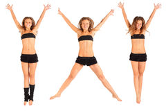 Girl jumping up with raised arms isolated royalty free stock photos