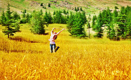 Girl jumping on wheat field Stock Image