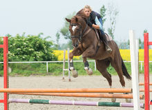 Girl Jumping With Horse Royalty Free Stock Photo