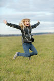 Girl jumps Royalty Free Stock Photos