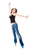 Girl jumps with happiness. Royalty Free Stock Photos