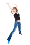 Girl jumps with happiness. Stock Photography