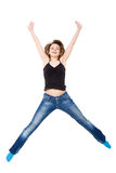 Girl jumps with happiness. Royalty Free Stock Photography